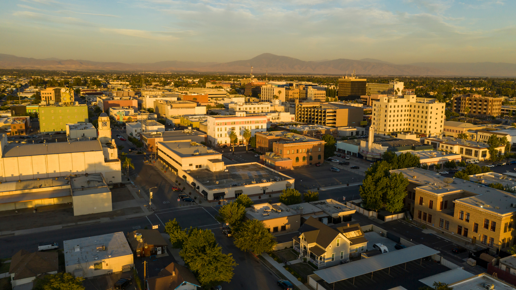 The southern city center downtown area of Bakersfield